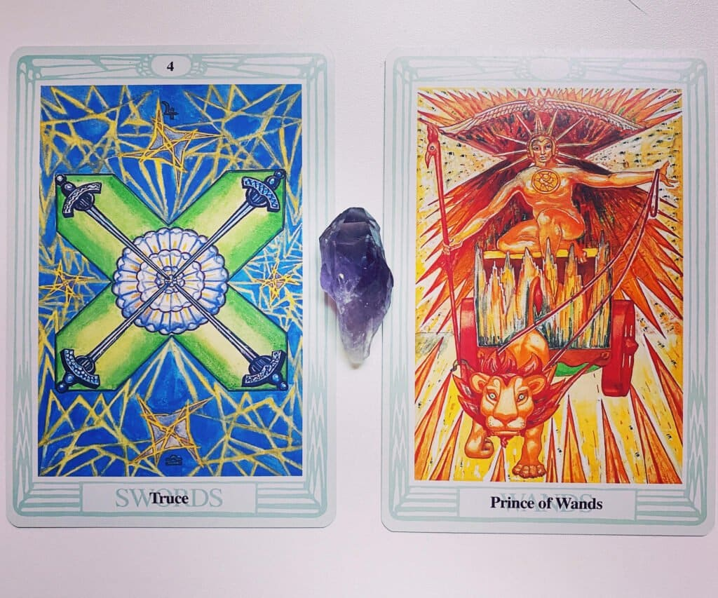 Four of Swords and Prince of Wands