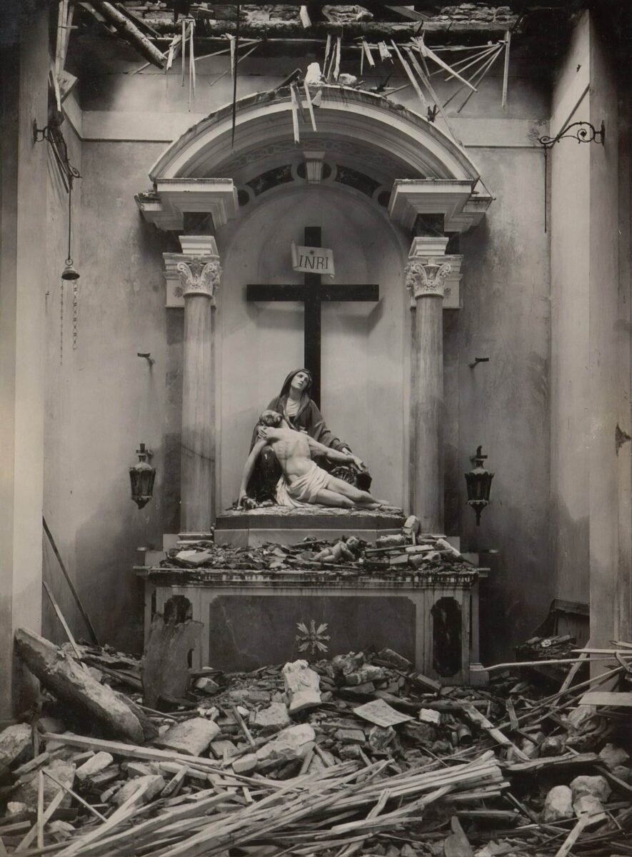 Mary and Jesus in ruins