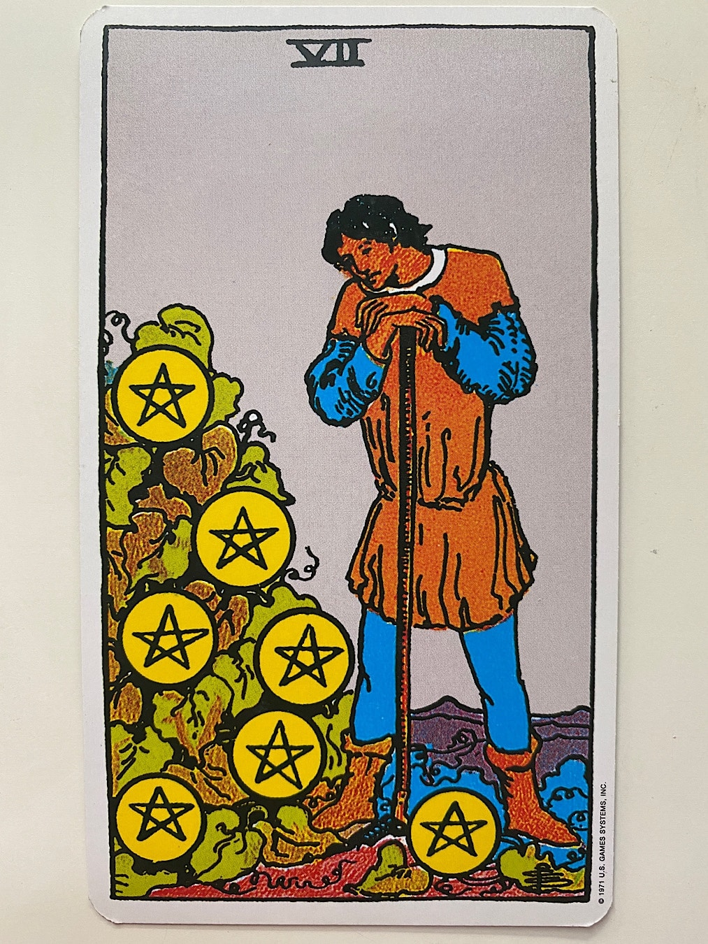 Seven of Pentacles Rider-Waite-Smith